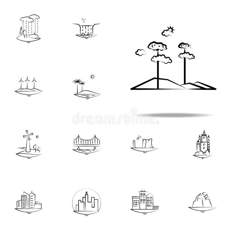 de wolkenpictogram van de boomzon Voor Web wordt geplaatst dat en het mobiele algemene begrip van Landspacepictogrammen stock illustratie