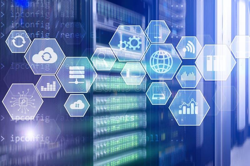 De wolkentechnologie en mededeling van de technologieinfrastructuur royalty-vrije stock afbeeldingen
