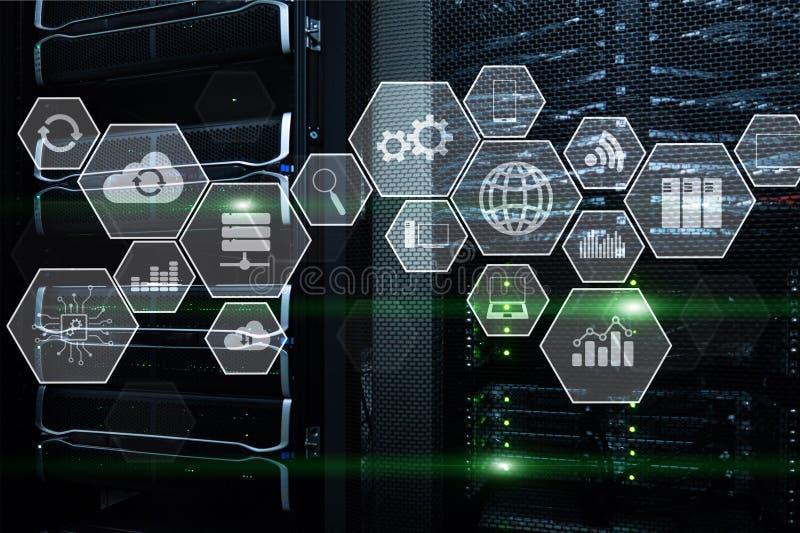 De wolkentechnologie en mededeling van de technologieinfrastructuur Gegevenscentrum, Serverruimte royalty-vrije illustratie