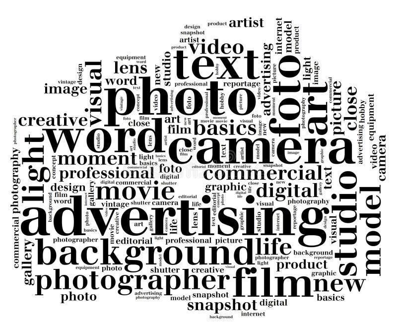 De wolkenvorm in camera van het camerawoord royalty-vrije illustratie