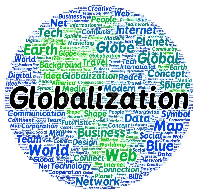De wolkenvorm van het globaliseringswoord royalty-vrije illustratie