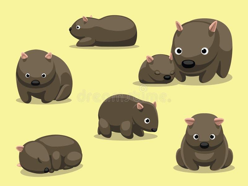 De wombat stelt Beeldverhaal Vectorillustratie