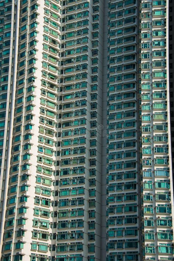 De woningbouw van de higndichtheid in Hongkong stock afbeelding