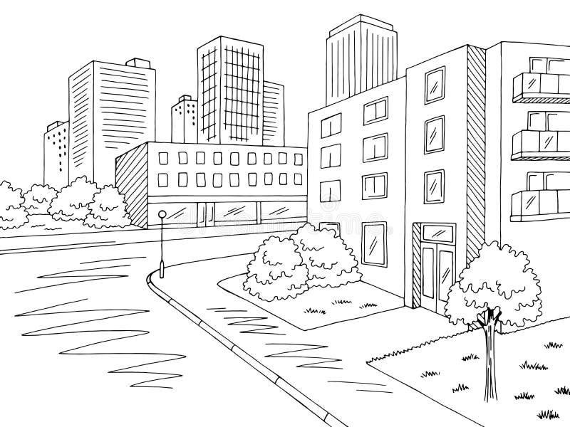 De woon van het de weg grafische zwarte witte kruispunt van de districtsstraat van het de stadslandschap vector van de de schetsi stock illustratie