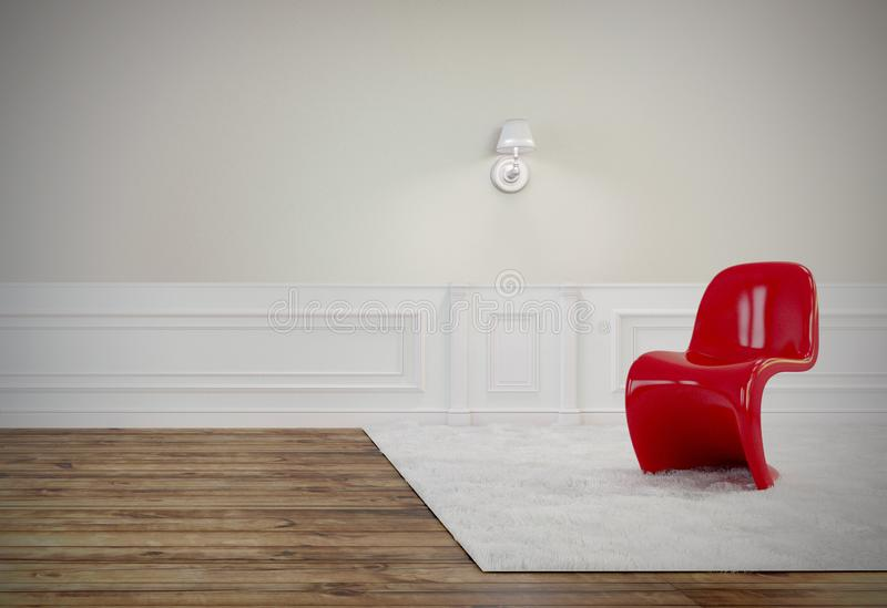 De woonkamer heeft een mooie rode stoel, houten vloer en de witte 3D muur, geeft Beeld terug royalty-vrije illustratie