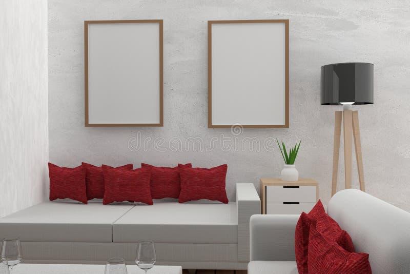 De woonkamer met onechte binnenlandse modern in de concrete ruimte in 3D geeft omhoog beeld terug royalty-vrije illustratie
