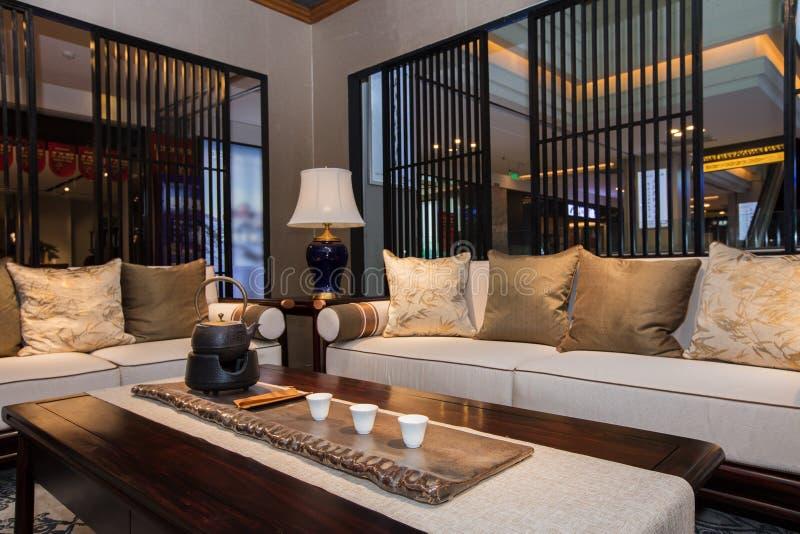 De woonkamer van moderne Chinese families royalty-vrije stock foto