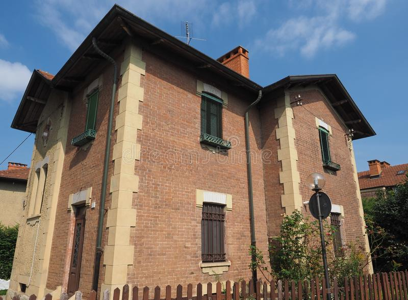 De woonplaatsen van het Leumanndorp in Collegno stock afbeeldingen