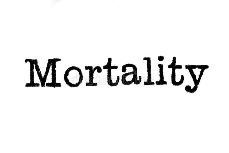 De woord` Mortaliteit ` van een schrijfmachine op wit royalty-vrije stock afbeelding
