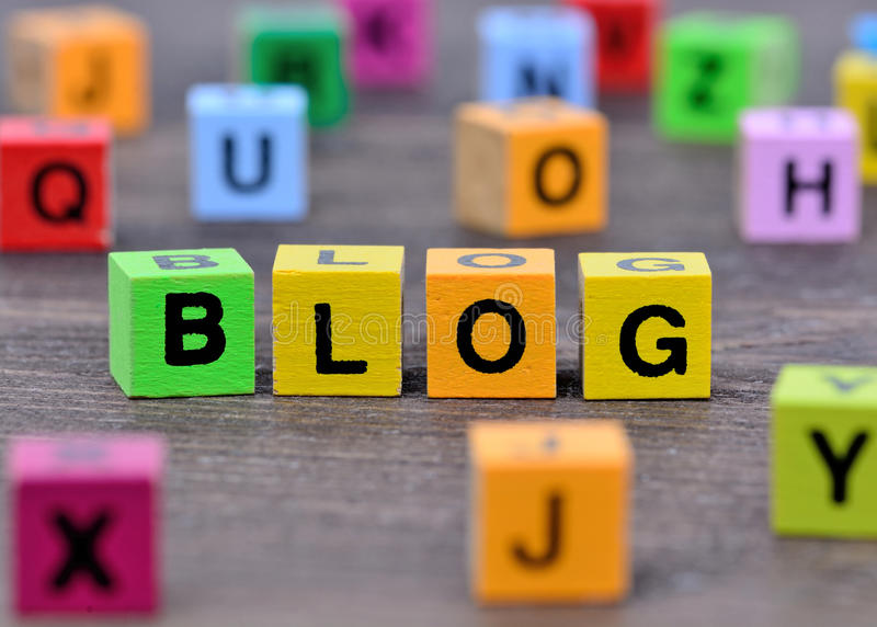 De woordblog op lijst stock foto's