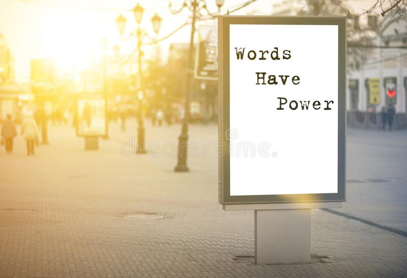De woorden hebben macht - woorden, uitdrukking royalty-vrije stock foto's