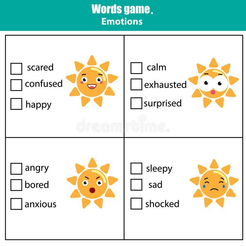 De woorden testen onderwijsspel voor kinderen Emotiesthema royalty-vrije illustratie