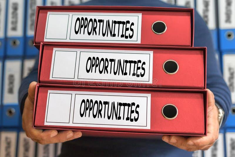 De woorden van het kansenconcept Het Concept van de omslag Ring Binders stock afbeelding