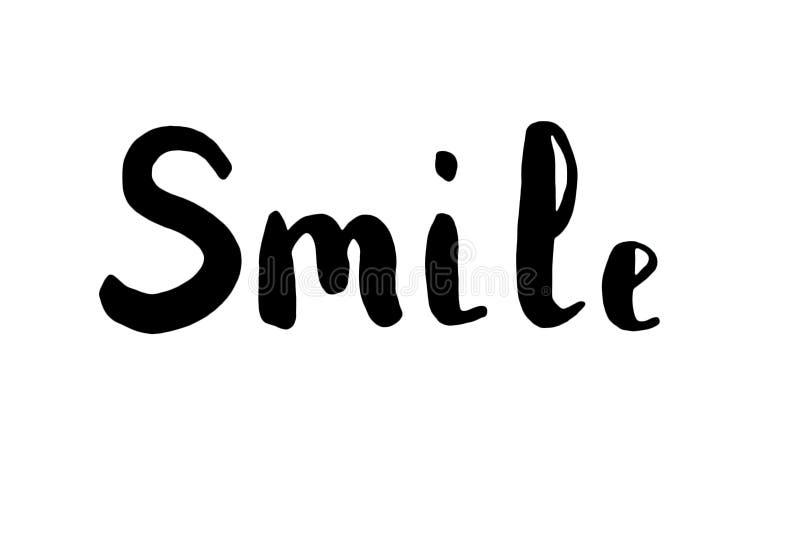 De woordglimlach lettering stock illustratie