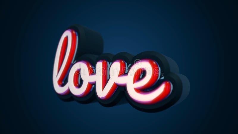 De woordliefde is in kleine, rode brieven die zich langzaam op donkerblauwe achtergrond bewegen Volumetrische brieven en de insch royalty-vrije illustratie