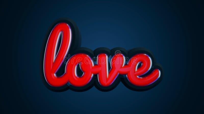 De woordliefde is in kleine, rode brieven die zich langzaam op donkerblauwe achtergrond bewegen Volumetrische brieven en de insch stock illustratie