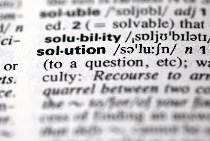 De woordoplossing in een woordenboek royalty-vrije stock foto