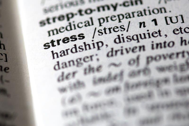 De woordspanning in een woordenboek stock foto's