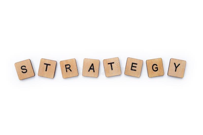 De woordstrategie stock foto's