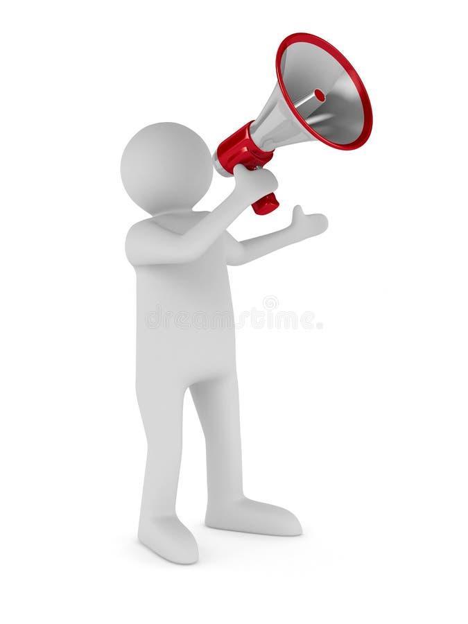 De woordvoerder spreekt in megafoon royalty-vrije illustratie