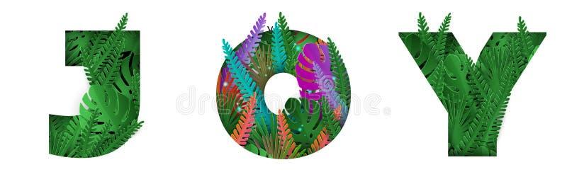 De woordvreugde met kleurrijke tropische bladerenbrieven royalty-vrije illustratie