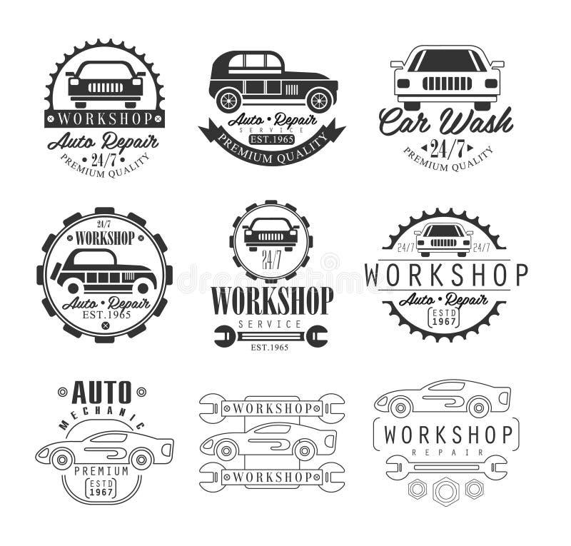De Workshop van de autoreparatie De klassieke Witte Achtergrond van Logo Set With Text On van het Stijl Vector Zwart-wit Grafisch vector illustratie