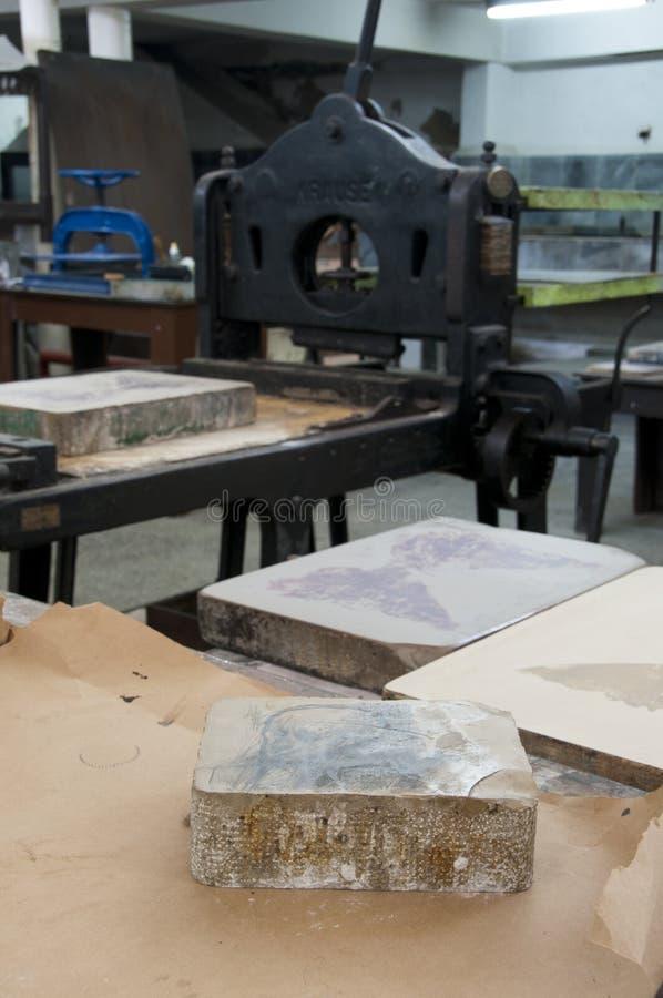 De workshop van snijwerkdruk stock afbeeldingen