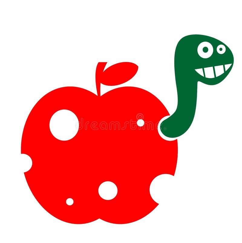 De worm in de appel stock illustratie