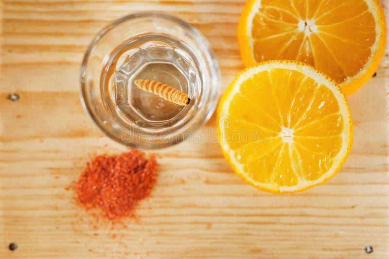 De worm zoute oaxaca van de Mezcal Mexicaanse drank met oranje plakken in Mexico royalty-vrije stock afbeeldingen