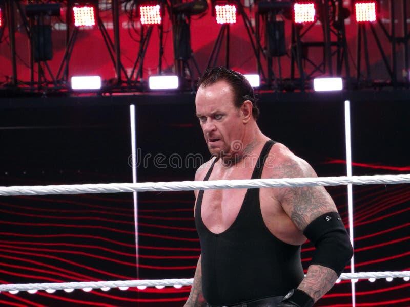 De Worstelaar en de legende van WWE de Begrafenisondernemer staren over ringsdurin royalty-vrije stock foto