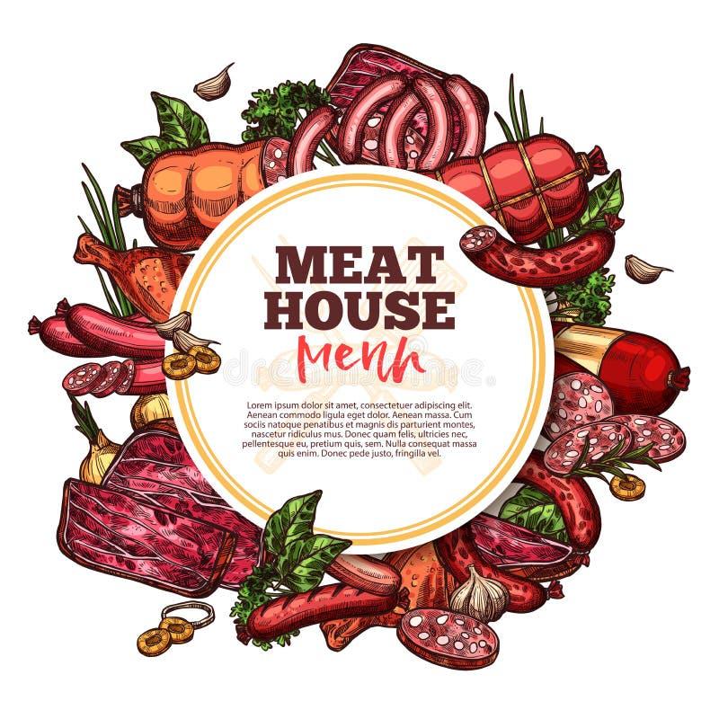De worsten en de delicatessen van het vleeshuis stock illustratie