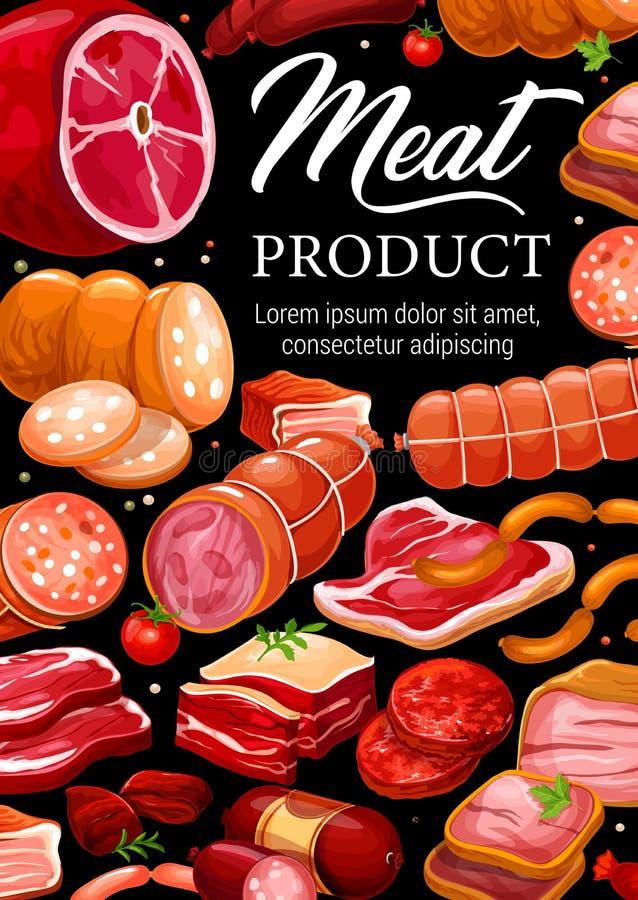 De worsten gastronomische delicatessen van het slagerijvlees vector illustratie