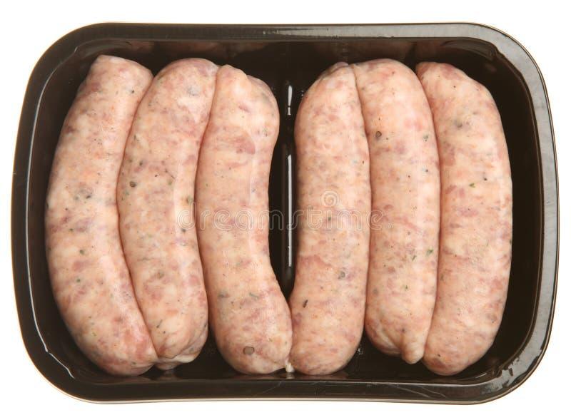 De Worsten van het varkensvlees in het Verpakkende Dienblad van de Supermarkt stock fotografie