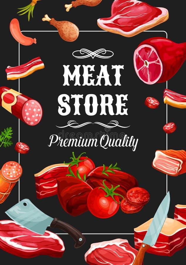 De worsten van de vleesopslag, slachterijdelicatessen stock illustratie