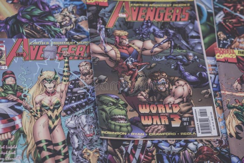 De Wrekers verwonderen zich strippagina superheroes stock foto