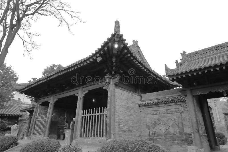 De xian grote moskee van de huajuesteeg in de winter, zwart-wit beeld stock foto's