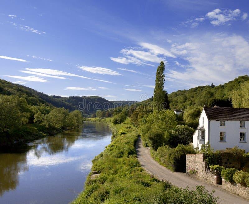 De y van de rivier de yvallei gloucestershire monmouthshire Wales eng royalty-vrije stock afbeeldingen