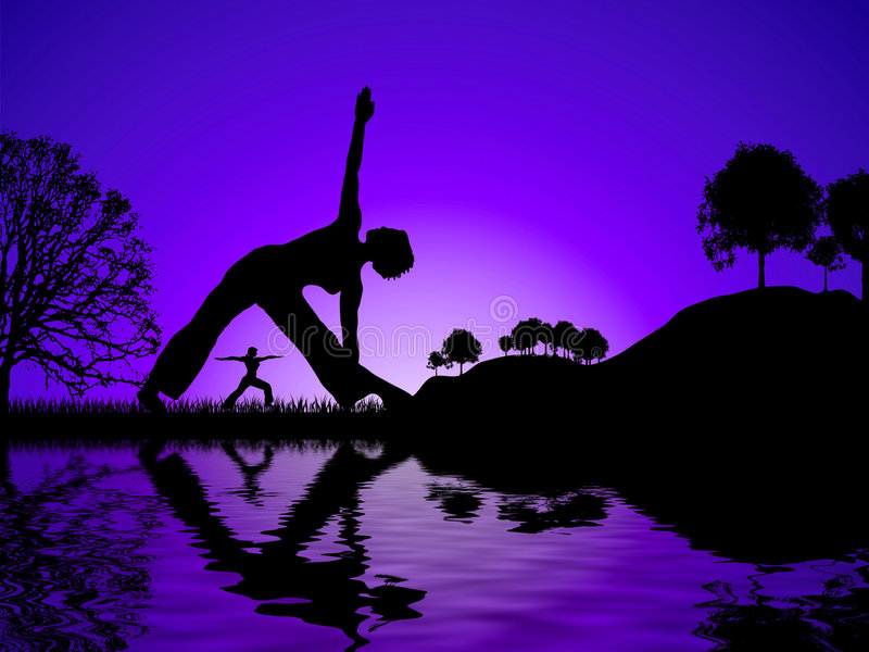 De yoga denkt na stock illustratie
