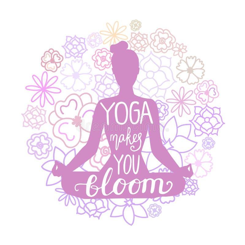 De yoga maakt u bloei De vectorillustratie die van vrouw in lotusbloem mediteren stelt met krabbelbloemen erachter en hand het va royalty-vrije illustratie