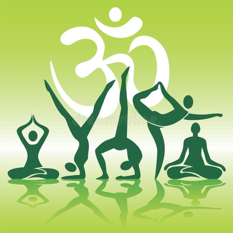 De yoga plaatst silhouetten op groene achtergrond stock illustratie