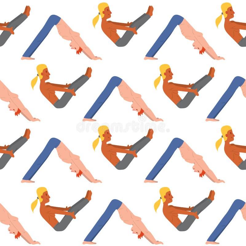 De yoga plaatst van de de klassen de vectorillustratie van mensenkarakters van de de meditatie mannelijke concentratie levensstij stock illustratie