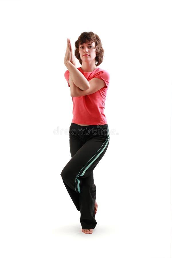 De yoga stelt. Garudasana. stock foto