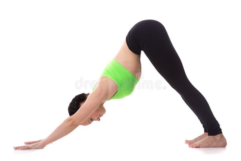 De yoga stelt naar beneden toegekeerde hond stock foto
