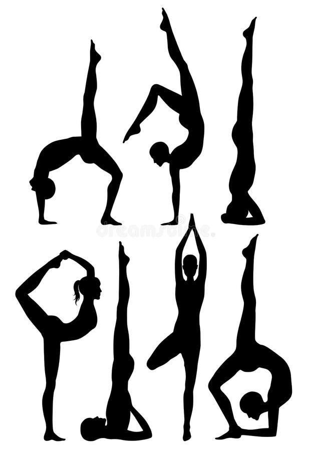 De yoga stelt silhouetten. stock illustratie
