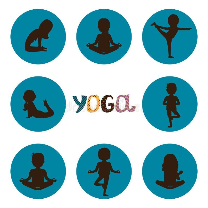 De yoga stelt de vector van silhouettenpictogrammen van reeks stock illustratie