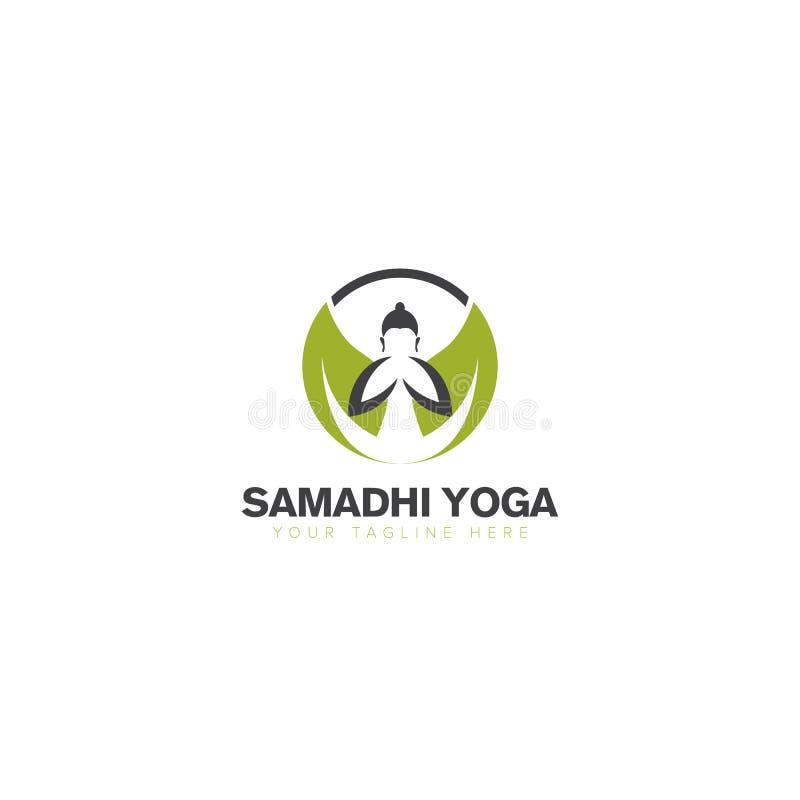 De Yoga van Boedha met Blad Logo Design royalty-vrije illustratie