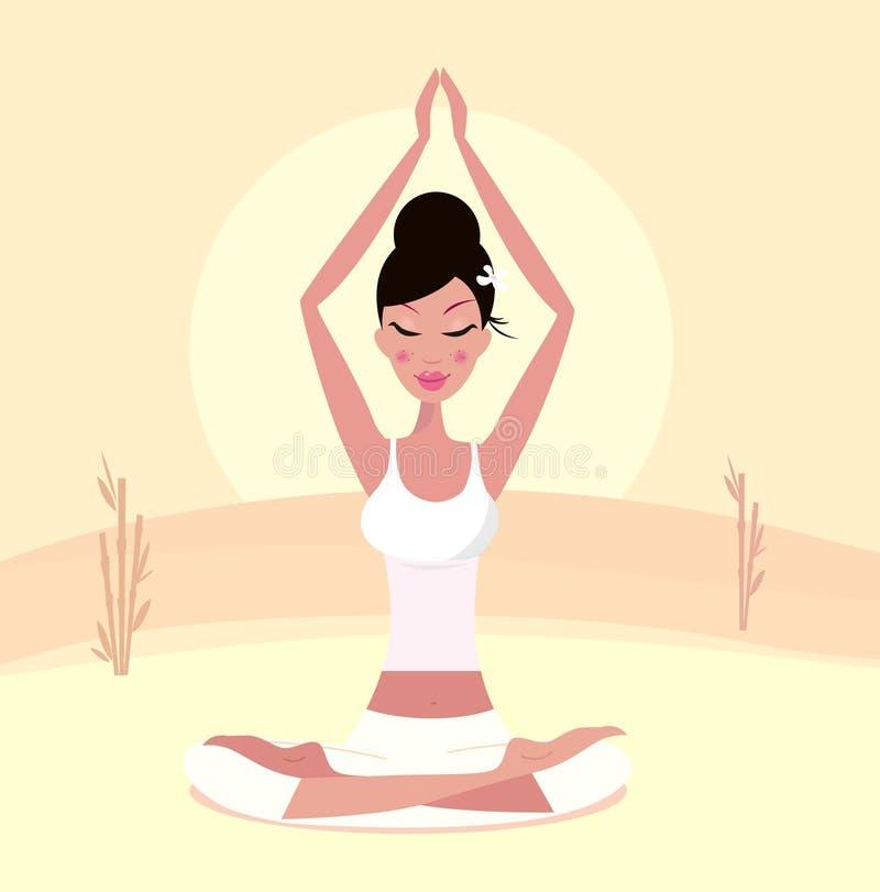 De yoga van de zonsondergang: de ontspannende retro vrouw in lotusbloem stelt royalty-vrije illustratie