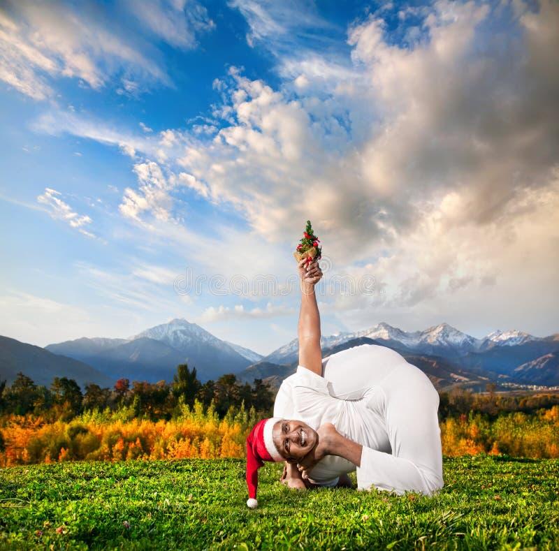 De yoga van Kerstmis royalty-vrije stock fotografie