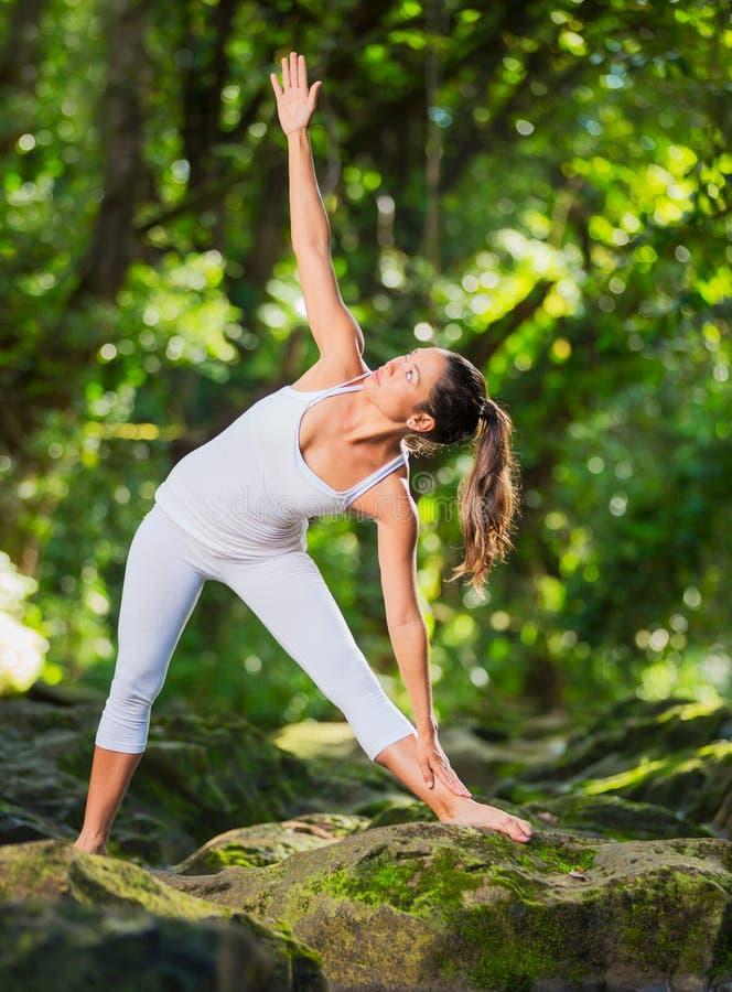 De Yoga van vrouwenpractacing in Aard stock afbeelding