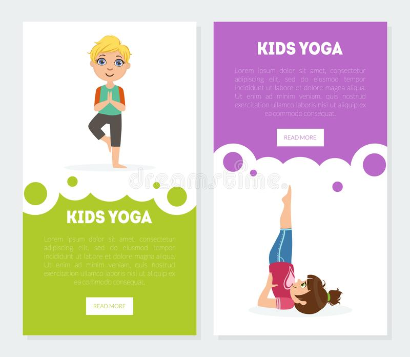 De yoga voor Jonge geitjesbanners, Geplaatste Landingspagina'smalplaatjes, Kinderen die Asana uitoefenen stelt Vectorillustratie vector illustratie